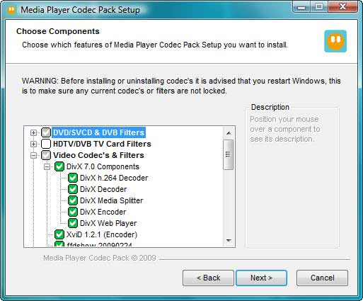 Windows Media Player Codec Pack